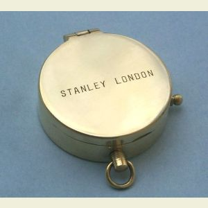 Engravable Polished Medium Brass Pocket Compass (Stanley London)