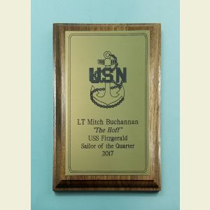 Small Walnut Award Plaque with Brass Plaque