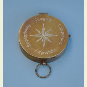 Antique Large Brass Pocket Compass Engraved (Moral Compass)