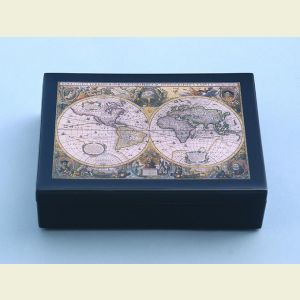 Engravable Black Lacquered Nautical Old World Map Box