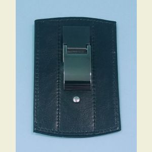 Engravable Leather and Stainless Steel Credit Card Wallet and Money Clip