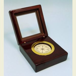 Stanley London Desk Clock with Magnetic Compass in a Rich Piano-Finished Solid Mahogany Case