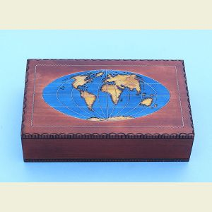 Engravable World Map Chartography Box