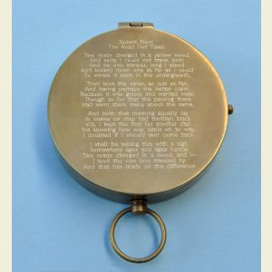 Antique Large Brass Pocket Compass Engraved (The Road Not Taken, by Robert Frost)
