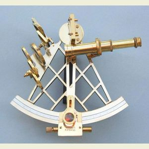 Engravable 8-inch Vernier Readout Brass Sextant with Case