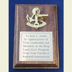 Engravable Small Walnut Presentation Plaque with Brass Sextant