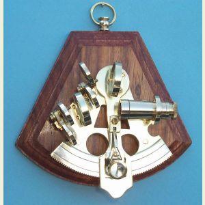 Engravable 3-inch Radius Brass Sextant on Hardwood Plaque