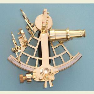 Engravable C. Plath Reproduction Micrometer Drum Brass Sextant with Case
