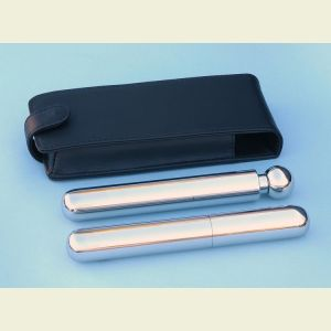 Engravable Stainless Steel Single Cigar Holder and Flask Combination