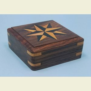 Engravable Small Hardwood Case with Hand Inlaid Compass Rose