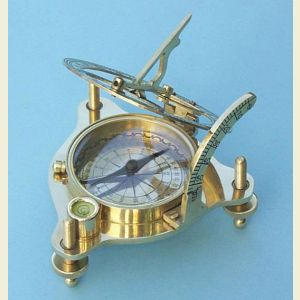 Engravable Premium Quality Brass Sundial Compass with Case