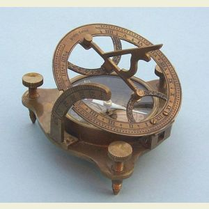Engravable Antique Brass Sundial Compass with Wood Case