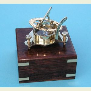 Engravable Small Brass Sundial Compass with Hardwood Case