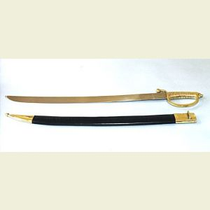 Engravable Naval Sword with Leather Scabbard
