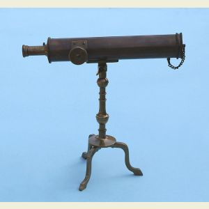 Engravable 10-inch Victorian Antique Patina Brass Desk Telescope