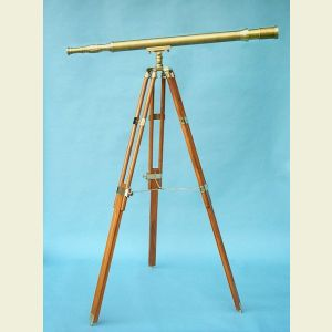 Engravable 44-inch Harbormaster Antique Brass Telescope on Teak Tripod