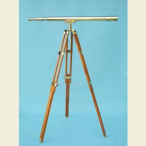 Engravable 44-inch Harbormaster Polished Brass Telescope on Teak Tripod