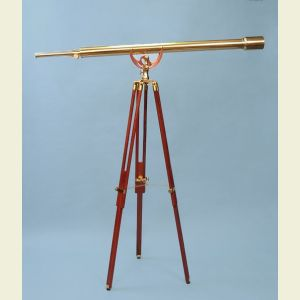 Engravable 55-inch Brass Harbormaster Telescope on Mahogany Tripod