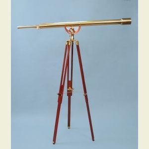Engravable 55-inch Brass Harbormaster Telescope on Mahogany Tripod