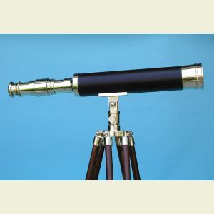 Engravable 19-inch Leather Sheathed Desktop Brass Harbormaster Telescope on Hardwood Tripod