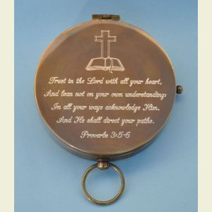 Antique Large Brass Pocket Compass Engraved (Proverbs 3:5-6)