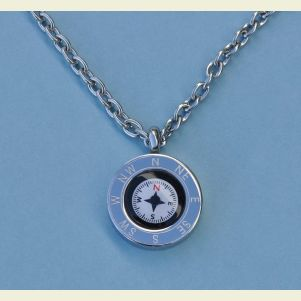Engravable Cardinal Points Compass Pendant with Chain