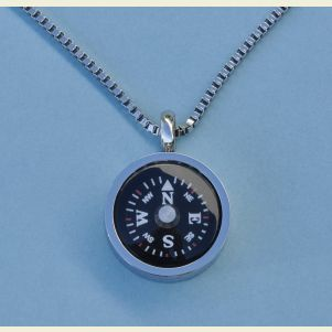 Engravable Thin Bezel Compass Pendant with Chain
