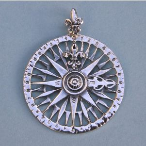 Sterling Silver Compass Rose Pendant