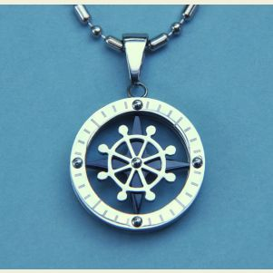 Stainless Steel Ship's Wheel Pendant with Chain