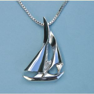 Large Sailboat Pendant with Chain