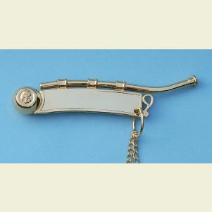 Gold Plated British Boatswain's Pipe with Chain
