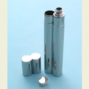Engravable Stainless Steel Flask and Single Cigar Holder