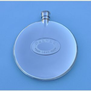 Engravable Dalvey Classic Stainless Steel Flask with Stainless Steel Badge