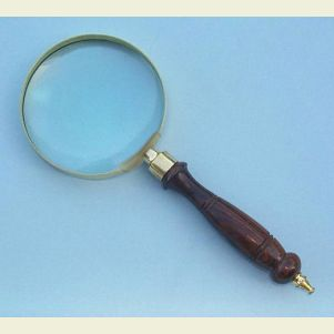 Brass Hand Magnifier with Hardwood Handle