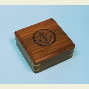 Engraved Medium Hardwood Storage Case (Anchor)