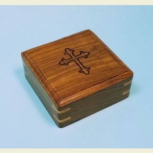 Engraved Medium Hardwood Storage Case (Cross)