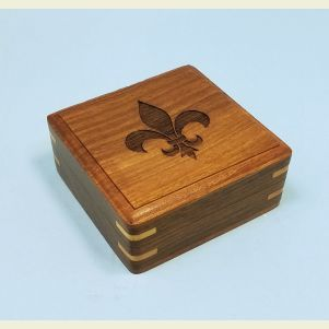 Engraved Large Hardwood Storage Case (Fleur de Lis)-Angled