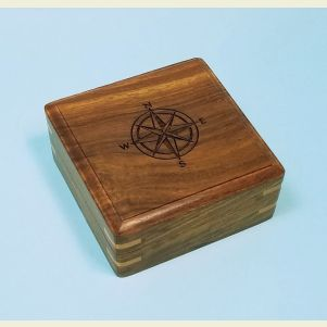 Engraved Large Hardwood Storage Case (Compass Rose)