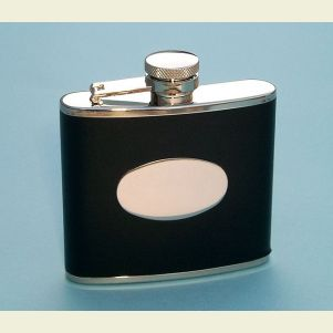 Engravable Leather Wrapped 4 ounce Flask