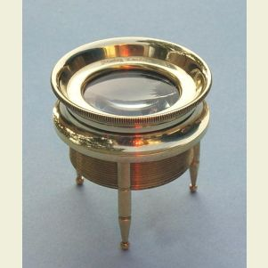 Engravable Small 3-Leg Brass Desk Magnifier Engraved Stanley London
