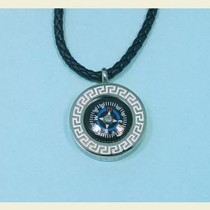 Engravable Greek Compass Pendant with Braided Leather Necklace