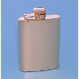 Engravable Gold Plated Stainless Steel 3.5 ounce Hip Flask