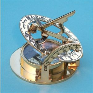 Engravable Large Polished Brass Sundial Compass With