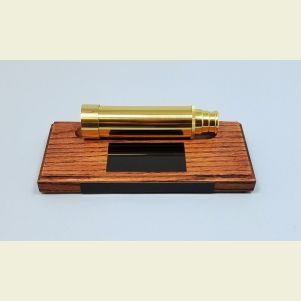 Engravable Hardwood Telescope Stand with Black Brass Optional Plaque