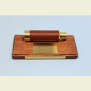 Engravable Hardwood Telescope Stand with Standard Brass Optional Plaque