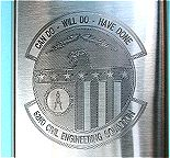 Detail of Custom Engraved Emblem on 5 ounce flask